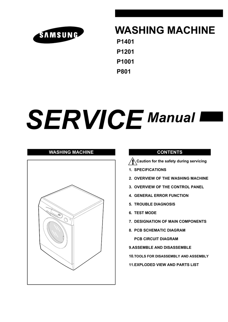 samsung washer p801 p1001 p1201 p1401 service manual
