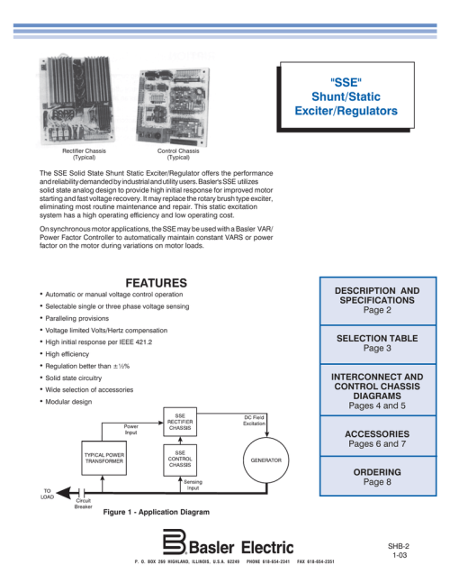 small resolution of sse shunt static exciter regulators
