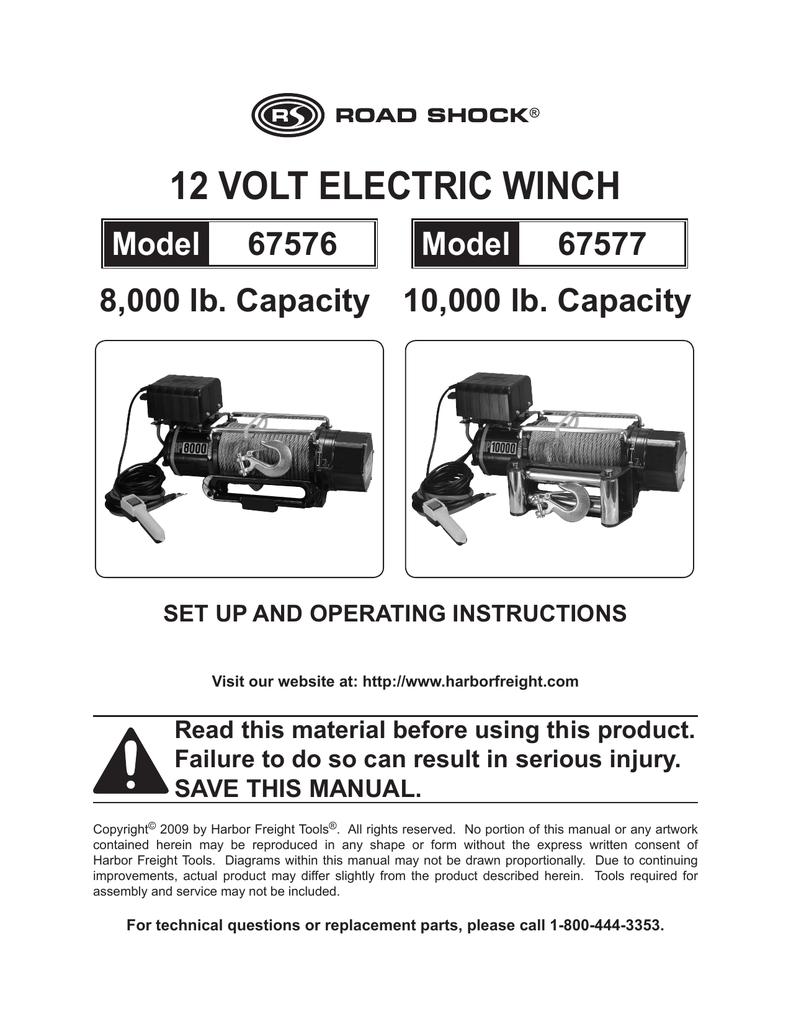 12 Volt Electric Winch Manualzz