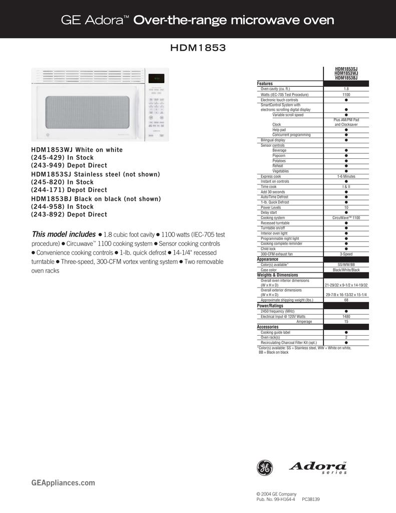 Ge Adora Microwave ManualBestMicrowave