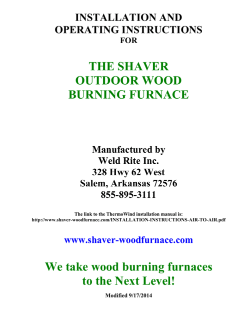 small resolution of shaver installation manual shaver outdoor wood furnace and boilershaver installation manual shaver outdoor wood furnace and