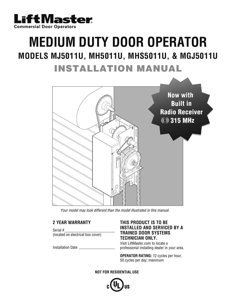 medium resolution of 0134213 liftmaster installation manual models mj5011u mh5011u