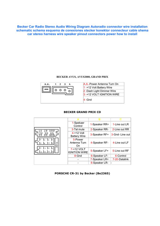 becker car radio wiring diagram  srt  manualzz