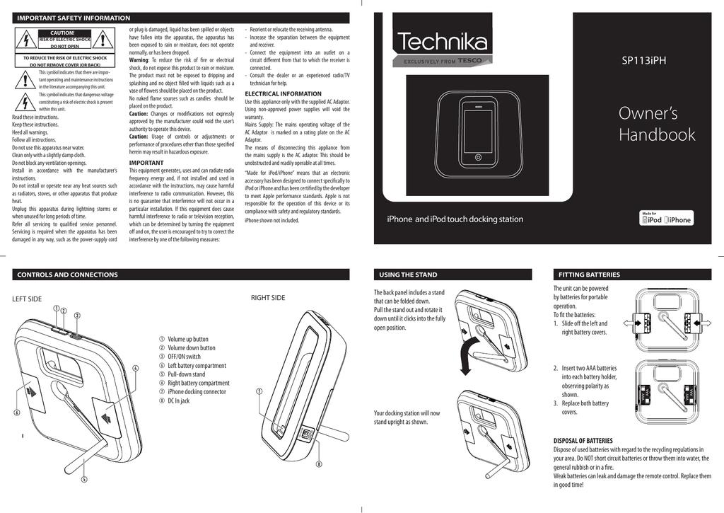 Technika Clock Radio With Dock For Ipod Instructions
