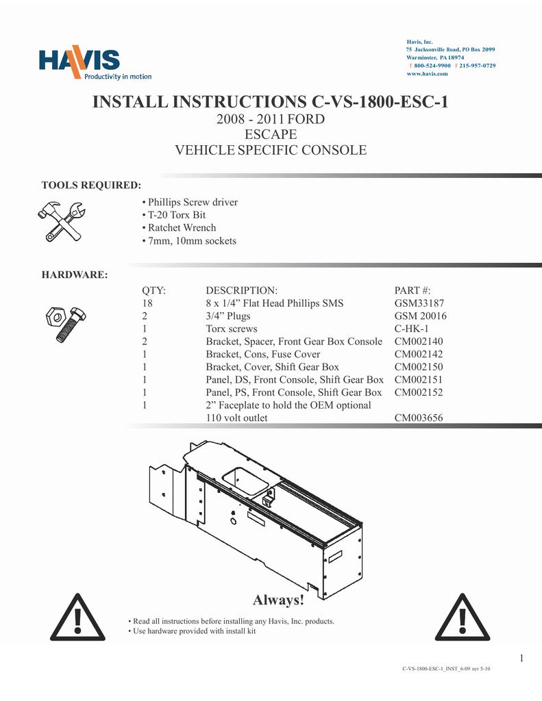 hight resolution of install instructions c vs 1800 esc 1