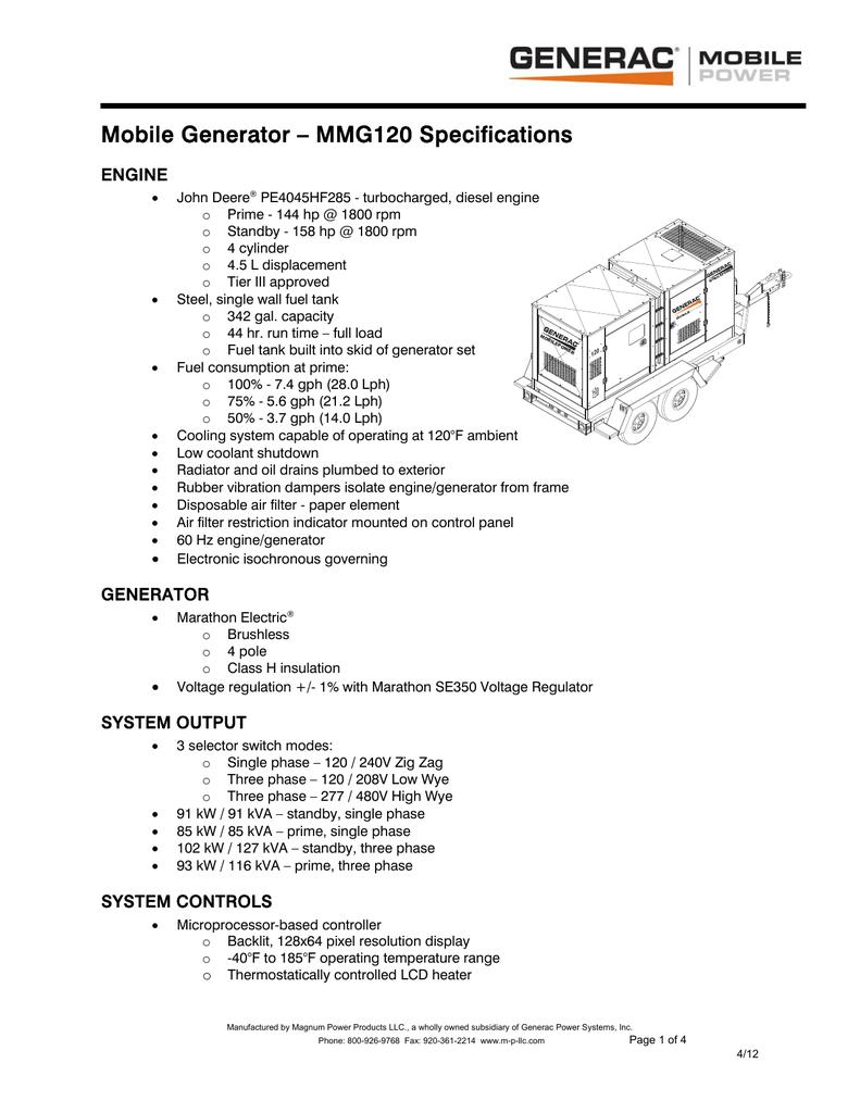 medium resolution of mobile generator mmg120 specifications