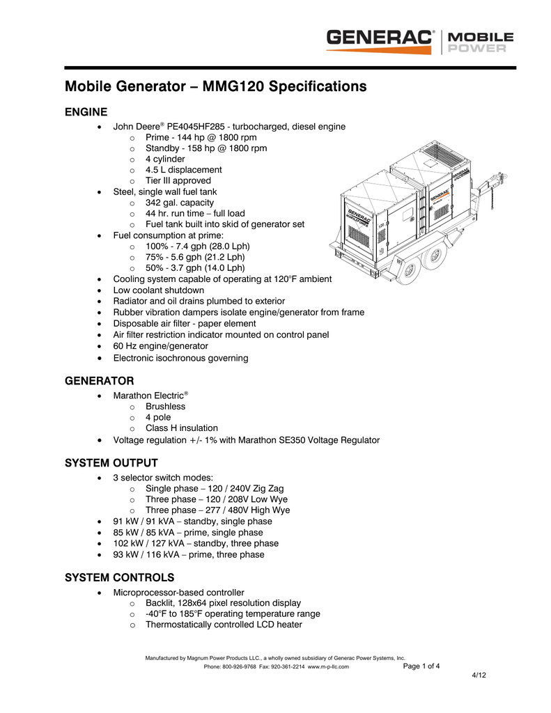 hight resolution of mobile generator mmg120 specifications