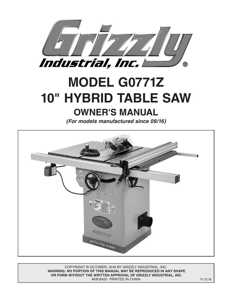 medium resolution of model g0771z 10 hybrid table saw
