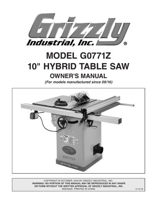 small resolution of model g0771z 10 hybrid table saw