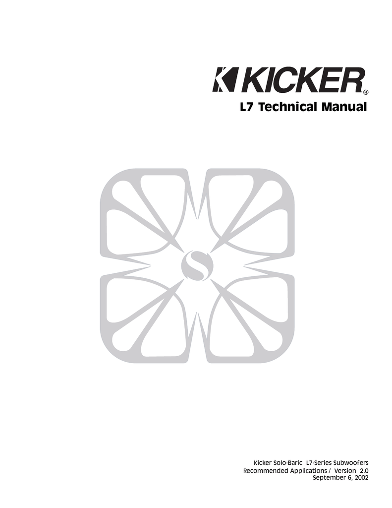 Kicker Solo-Baric L7 , Version 2.0 (09/06/2002) Owner
