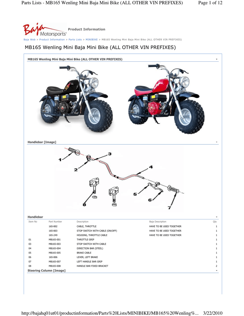 Mini Bike Parts Catalog : parts, catalog, MB165, Wenling, OTHER, Manualzz