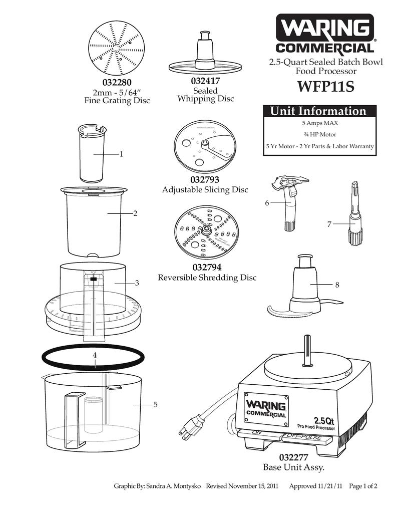 WFP11S 2.5-Quart Sealed Batch Bowl Food Processor Parts