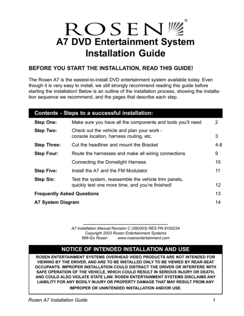 small resolution of a7 dvd entertainment system installation guide