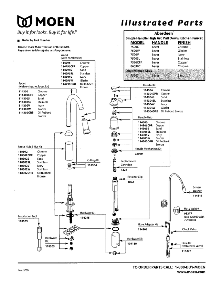 w moen illustrated parts manualzz