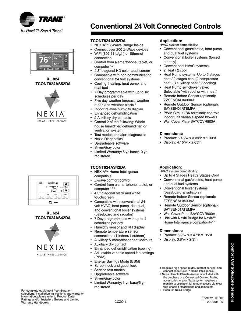 Trane 2016 Product Handbook Comfort Controls/Zone Sensors