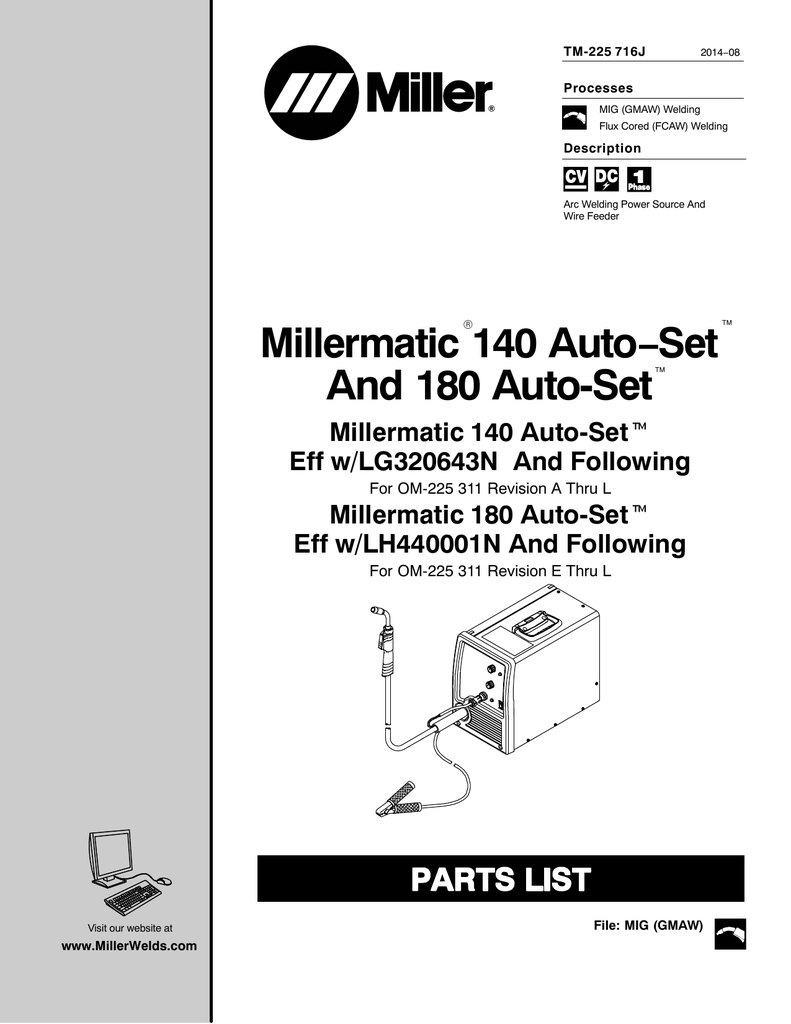 Miller LG000000, LH420010N, LH270051N, MA230878N
