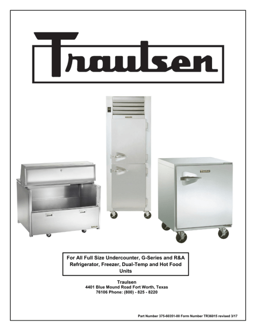 small resolution of traulsen service manual