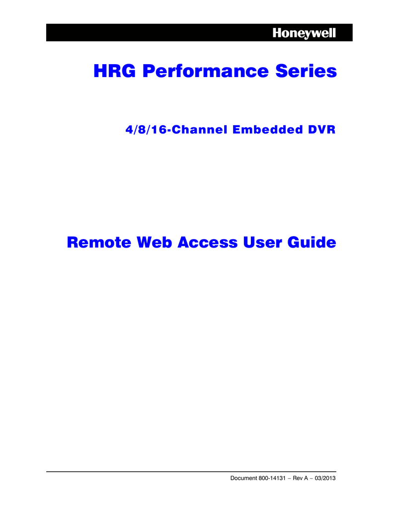 HRG Performance Series DVR Remote Web Access User Guide