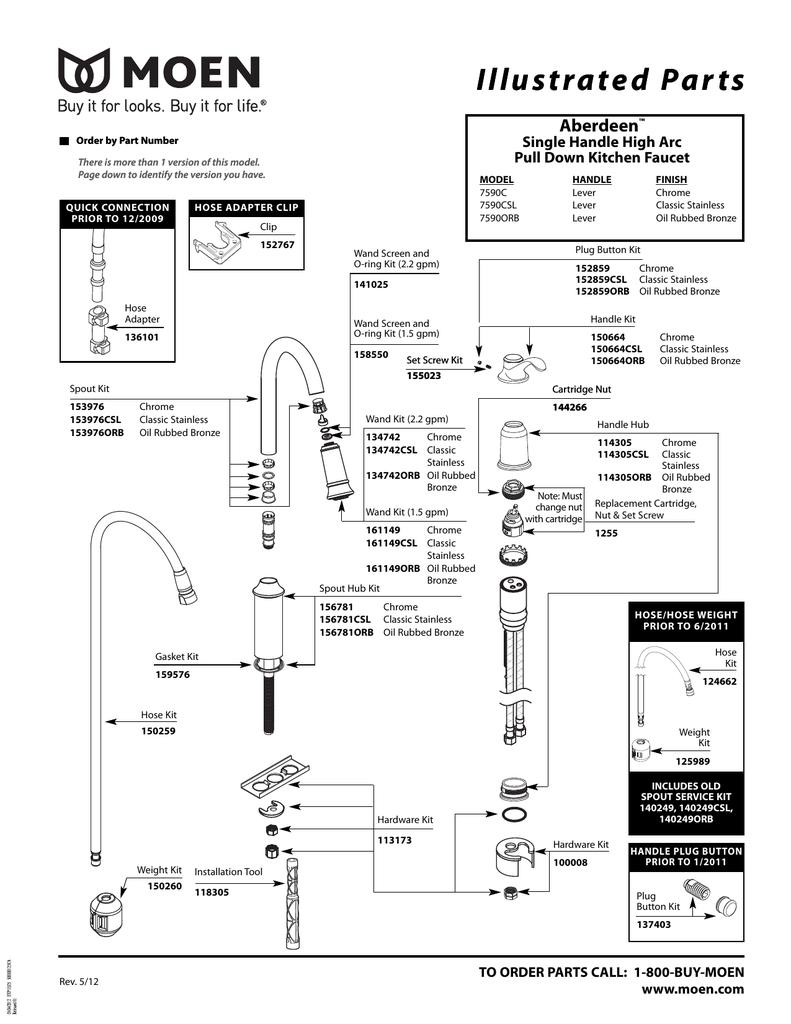 moen 7590orb product information manualzz
