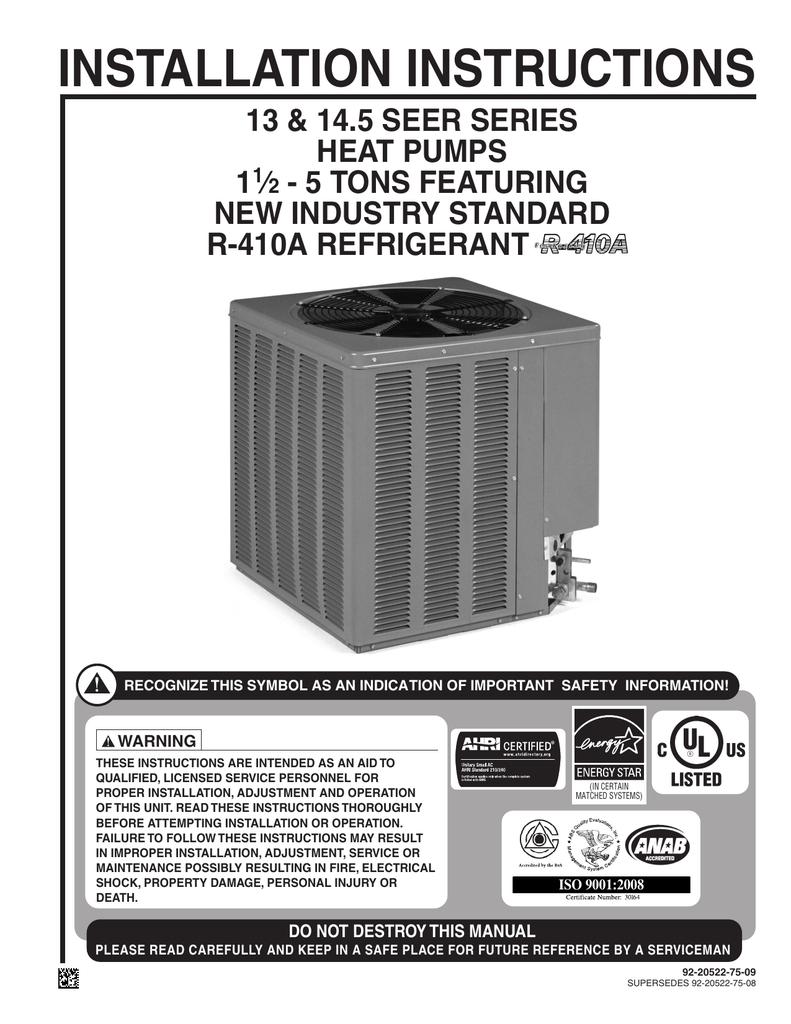 Rheem Heat Pump Wiring Diagram : rheem, wiring, diagram, Rheem, Installation, Manual, Manualzz
