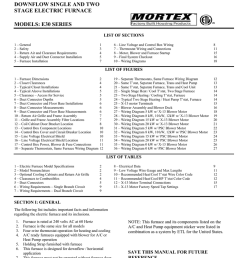 installation manual downflow single and two stage electric furnace models e30 series list of sections 1 general 2 safety 3 return air and clearance  [ 791 x 1024 Pixel ]