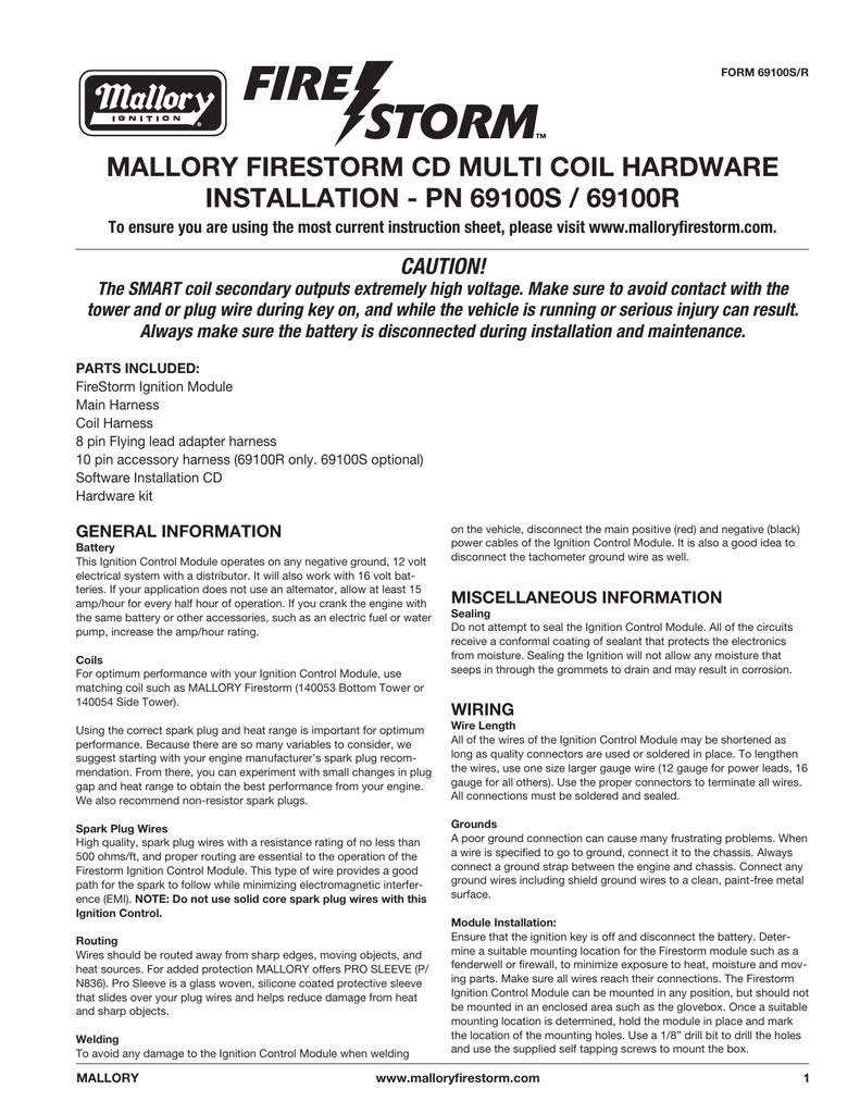 hight resolution of mallory firestorm instructions 69100s 69100r