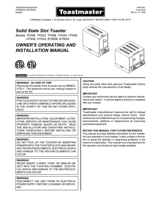 small resolution of solid state slot toaster owner s operating and