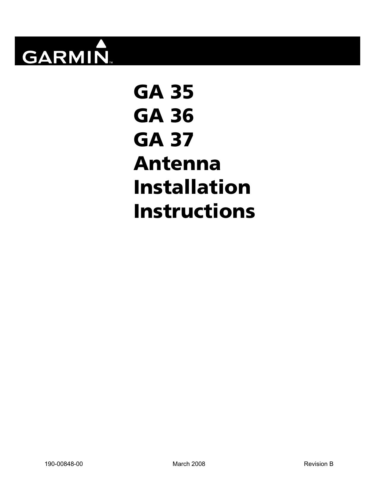 GA 35 GA 36 GA 37 Antenna Installation Instructions