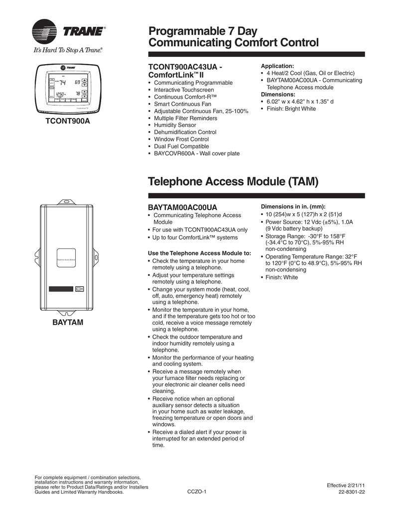 Trane 2011 Product Handbook Comfort Controls/Zone Sensors