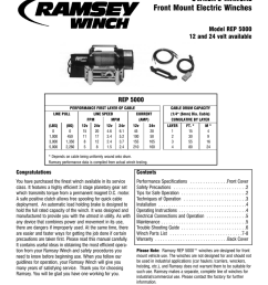 ramsey winch company owner s manual front [ 791 x 1024 Pixel ]