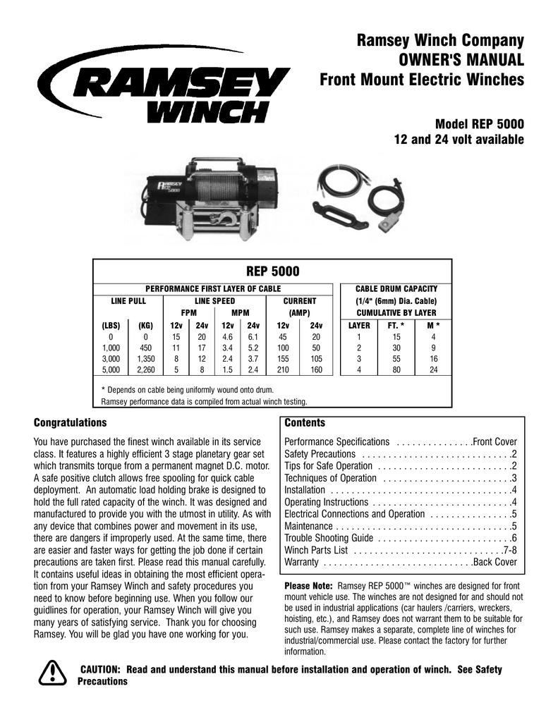 medium resolution of ramsey winch company owner s manual front