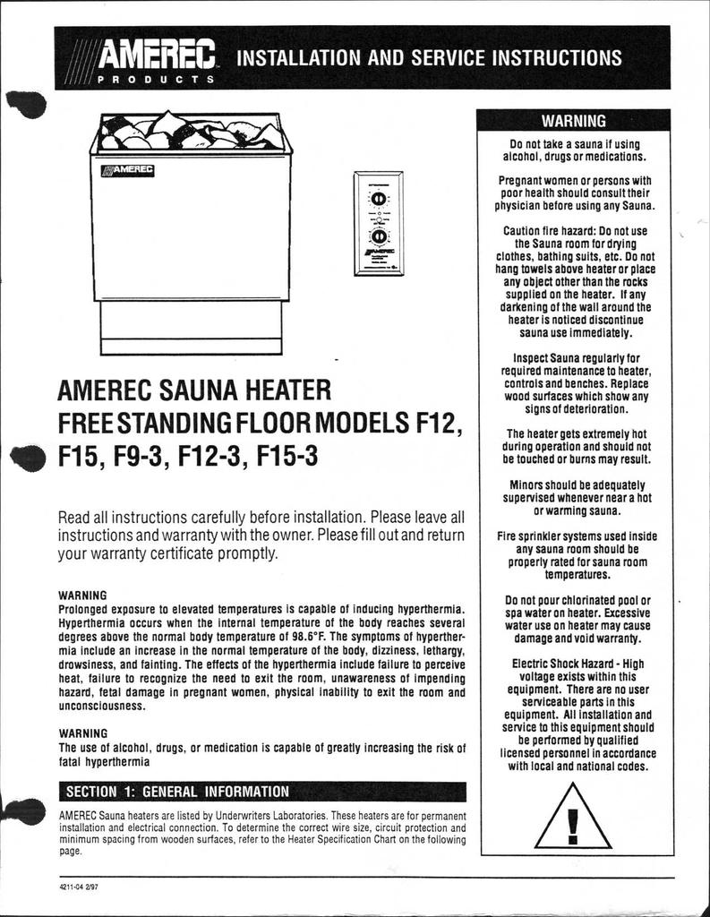 hight resolution of amerec sauna heater