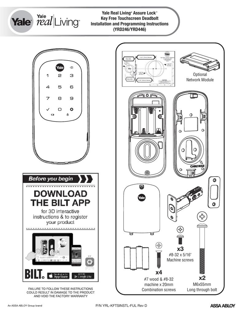 Yale Real Living Assure Lock Key Free Touchscreen Deadbolt