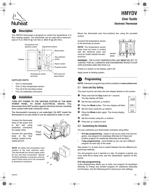 small resolution of  thermostat installation nuheat harmony dual voltage thermostat hmy manualzz com on thermostat switch circuit diagram