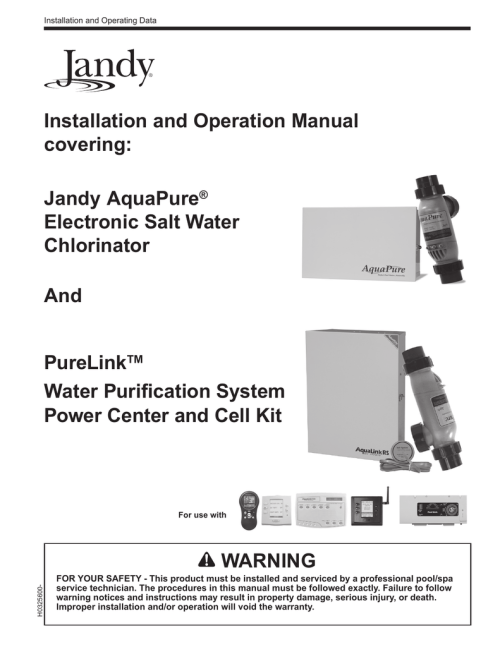 small resolution of installation and operation manual covering warning purelink