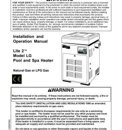 jandy lite2 model lg heater i o manual [ 791 x 1024 Pixel ]