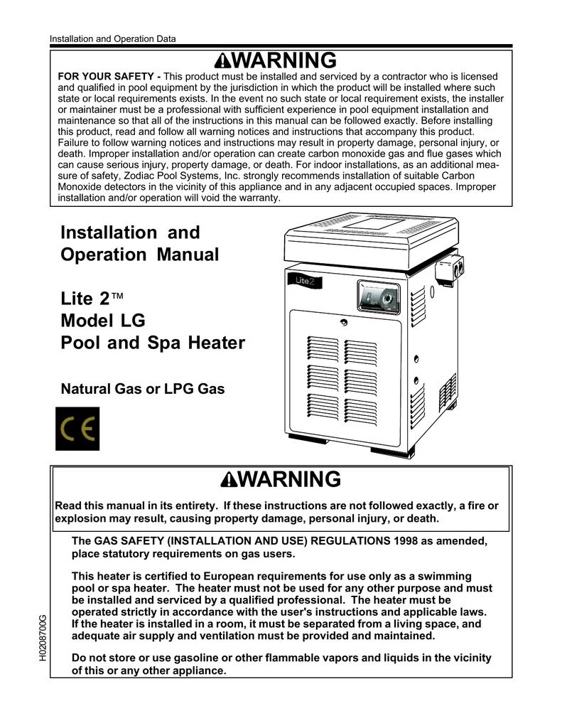 medium resolution of jandy lite2 model lg heater i o manual