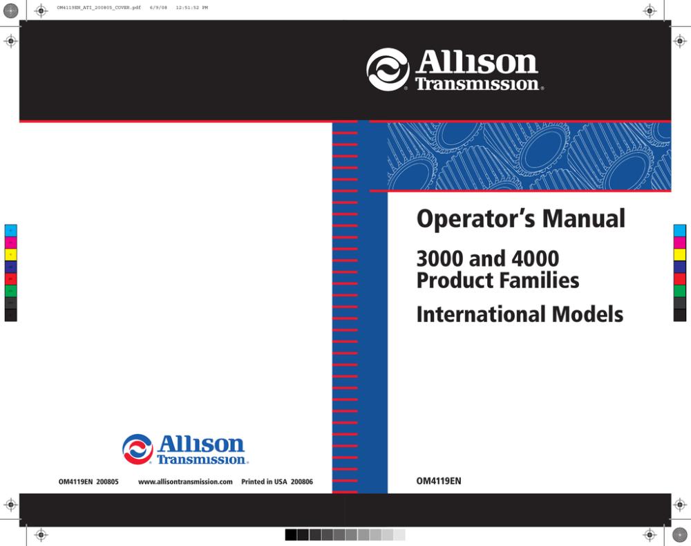 medium resolution of  allison allison hd4060 transmission operator manual manualzz com on allison 1000 filter allison 1000