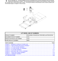 spare parts lift model and kit numbers table [ 791 x 1024 Pixel ]