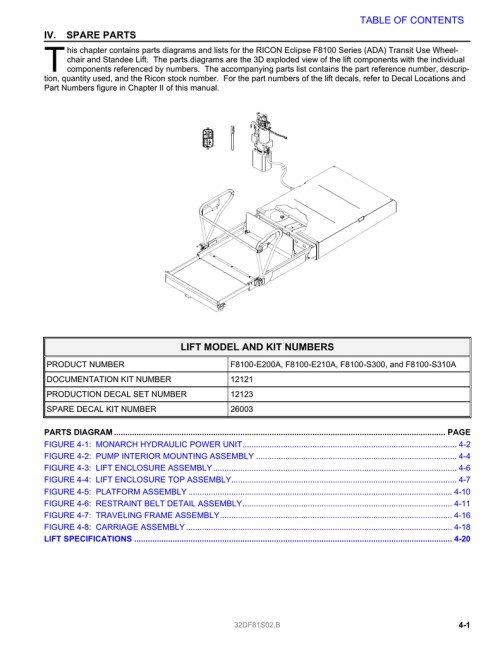 small resolution of spare parts lift model and kit numbers table