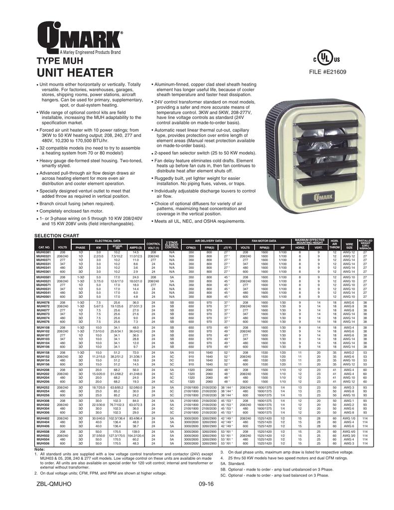 medium resolution of  unit heater on qmark heater wiring diagram wiring diagrams second on qmark muh304 catalog h manualzz com on