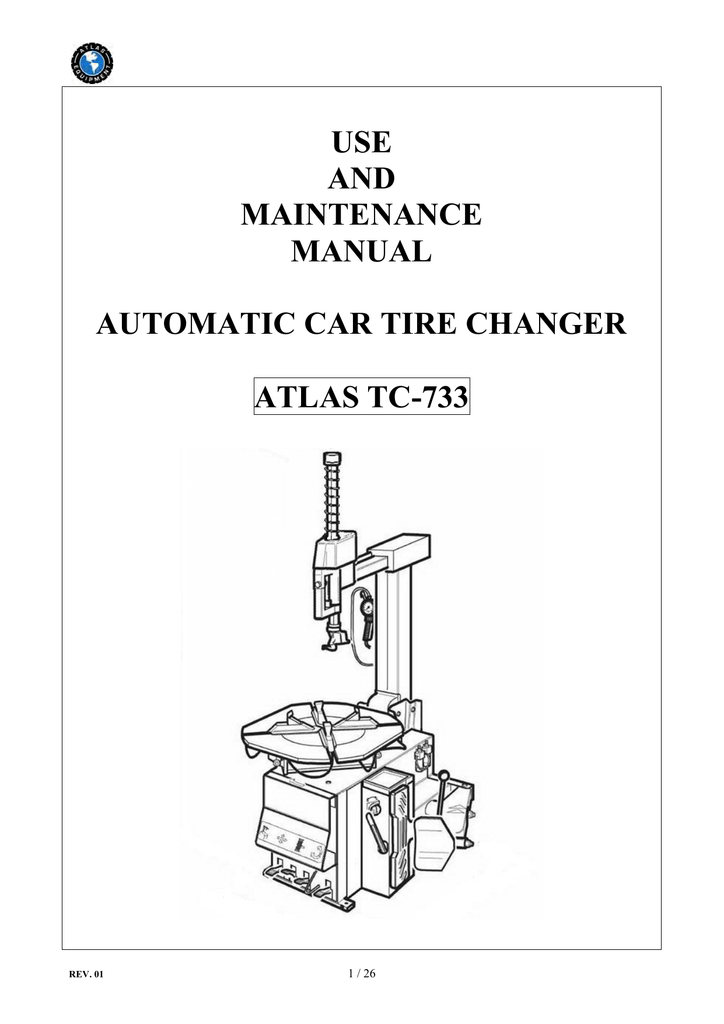 use and maintenance manual automatic car tire changer