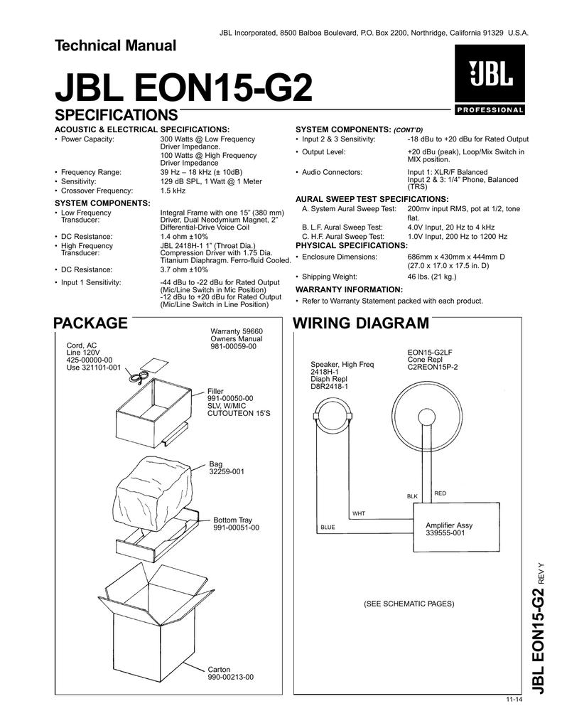 medium resolution of technical manual jbl eon15 g2 specifications