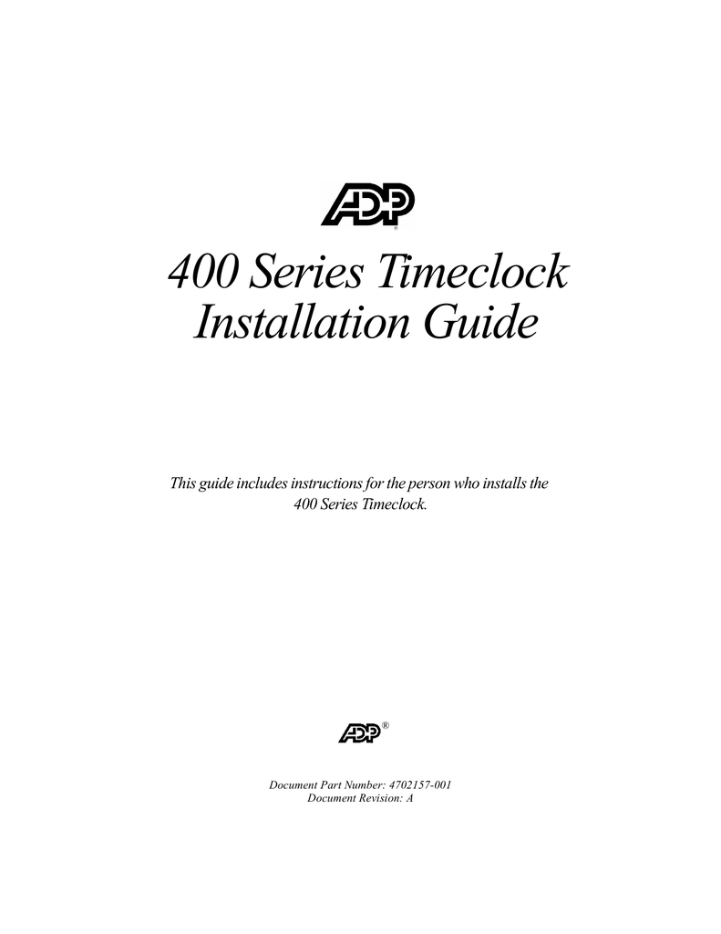 hight resolution of adp 400 timeclock installation guide