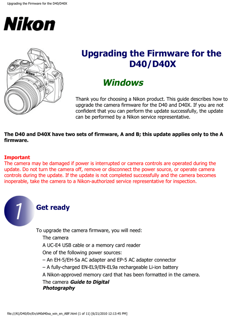 medium resolution of upgrading the firmware for the d40 d40x