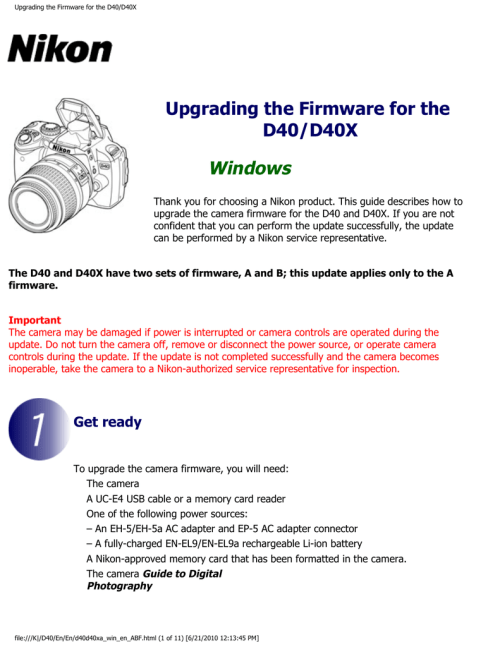 small resolution of upgrading the firmware for the d40 d40x