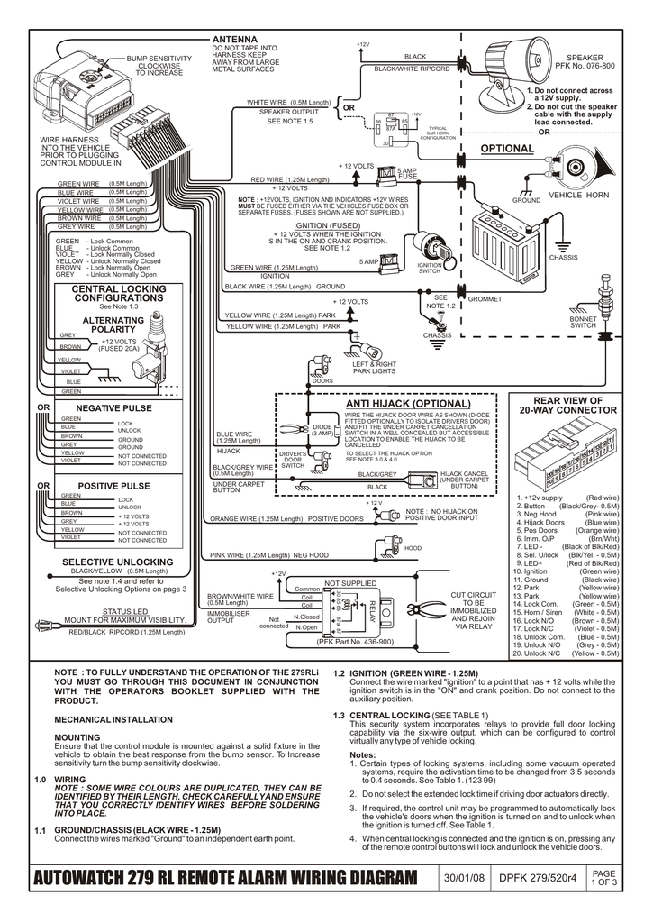 Car Alarm Wiring Diagram : alarm, wiring, diagram, AUTOWATCH, REMOTE, ALARM, WIRING, DIAGRAM, Manualzz
