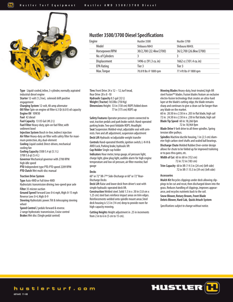 hight resolution of hustler 3500 3700 diesel specifications