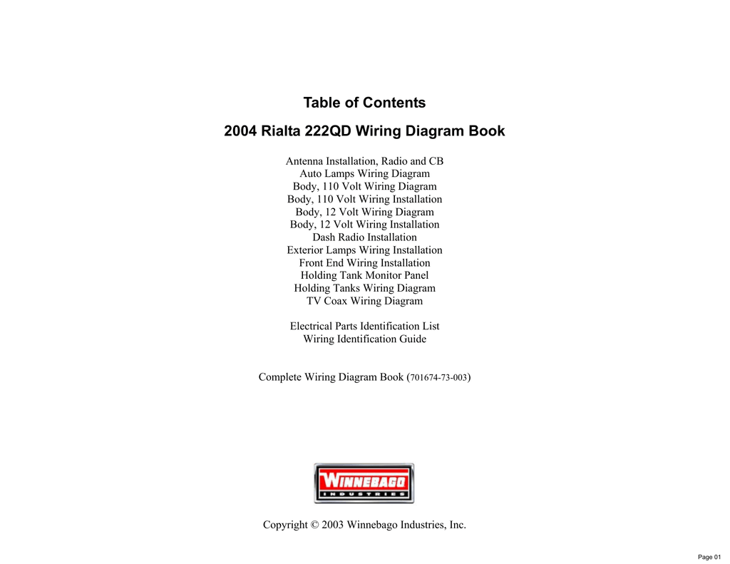 hight resolution of table of contents 2004 rialta 222qd wiring diagram book manualzz comtable of contents 2004 rialta 222qd
