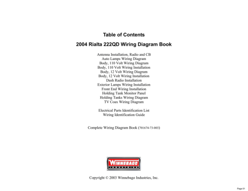 small resolution of table of contents 2004 rialta 222qd wiring diagram book manualzz comtable of contents 2004 rialta 222qd